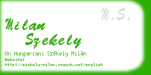 milan szekely business card